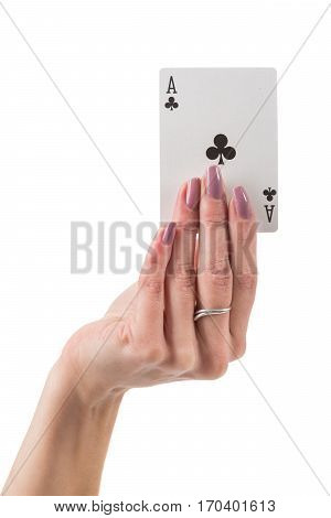 Female hand showing clover ace card isolated over white background