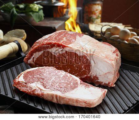Raw Grilled beef steak
