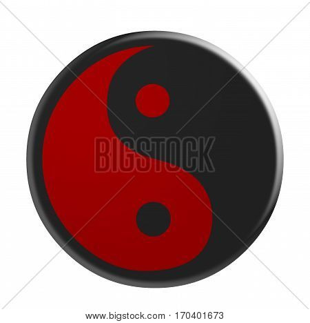 3d Black And Red Yin And Yang Symbol illustration isolated on white background