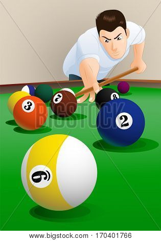 illustration of a young man playing pool indoor