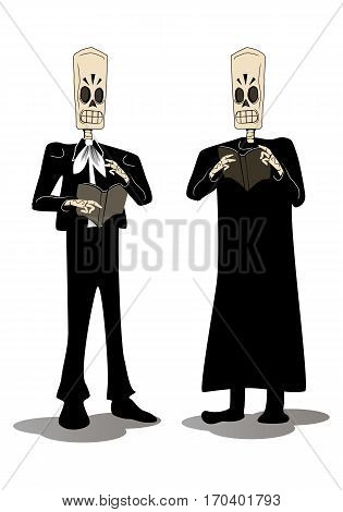 illustration of two hideous skeleton face grimace holding death book on isolated white background
