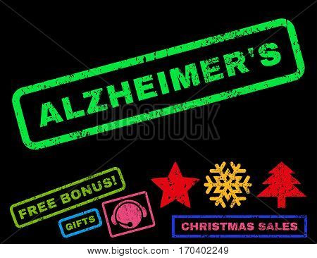 Alzheimer S text rubber seal stamp watermark with additional bonus new year symbols. Tag inside rectangular banner with grunge design and unclean texture.
