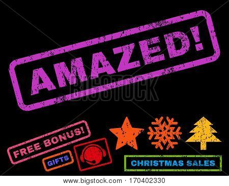 Amazed exclamation text rubber seal stamp watermark with bonus new year symbols. Caption inside rectangular shape with grunge design and unclean texture.
