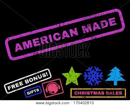 American Made text rubber seal stamp watermark with additional bonus christmas symbols. Caption inside rectangular banner with grunge design and scratched texture.