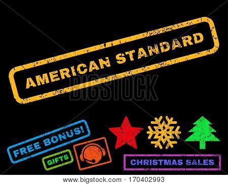 American Standard text rubber seal stamp watermark with bonus christmas symbols. Caption inside rectangular banner with grunge design and scratched texture.