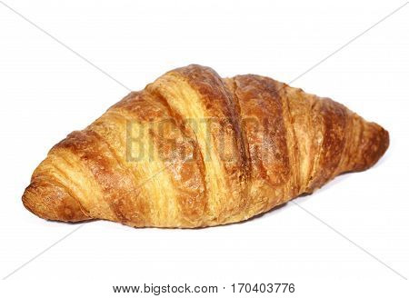 Crispy croissant, isolated on white background. Cut out croissant, baked good.