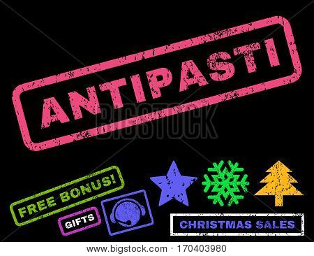 Antipasti text rubber seal stamp watermark with additional bonus christmas symbols. Caption inside rectangular shape with grunge design and scratched texture.