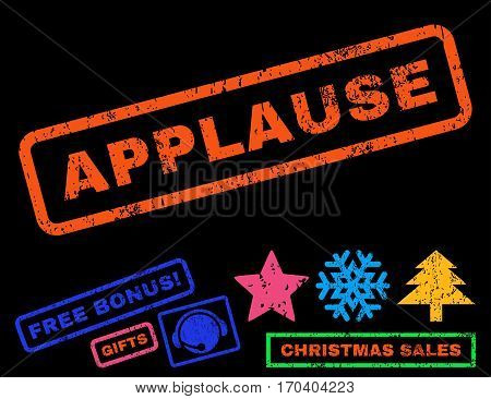 Applause text rubber seal stamp watermark with additional bonus new year symbols. Tag inside rectangular shape with grunge design and scratched texture.