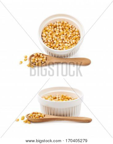 White ramekin dish filled with multiple corn kernels and a serving wooden spoon, composition isolated over the white background, set of two different foreshortenings