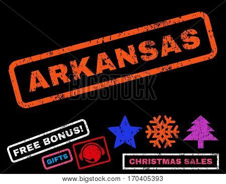 Arkansas text rubber seal stamp watermark with bonus christmas symbols. Caption inside rectangular shape with grunge design and dirty texture.