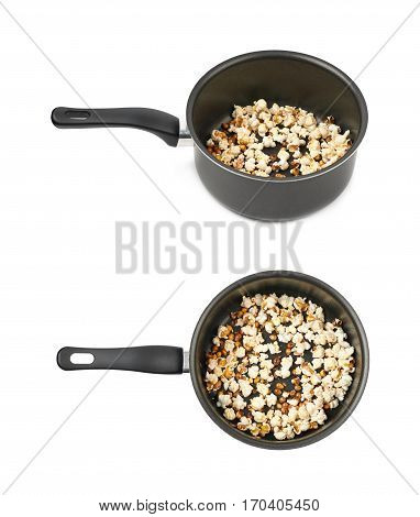 Black cooking pot filled with the burnt popcorn leftovers, composition isolated over the white background, set of two different foreshortenings