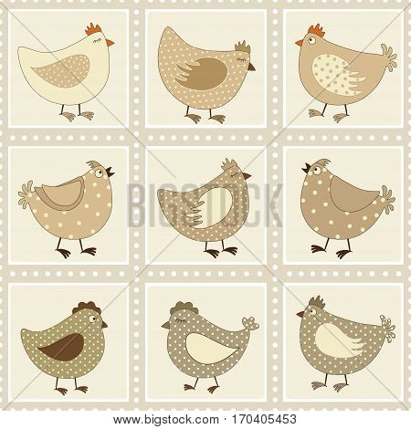 Seamless pattern with chicken cartoon in vector