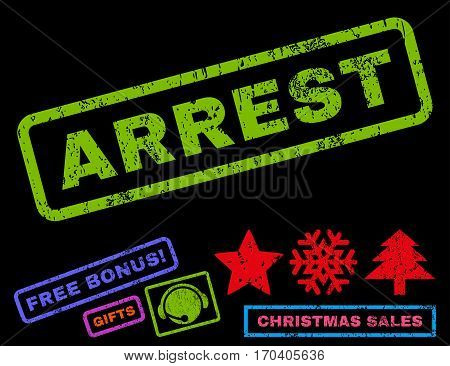Arrest text rubber seal stamp watermark with bonus christmas symbols. Caption inside rectangular banner with grunge design and unclean texture.