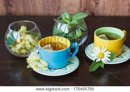 Cups Of Herbal Tea With Camomile And Mint Leaves