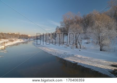 Historic winter view on Yauza river in Moscow Sviblovo district January 2010. Now this place looks different.