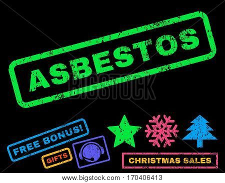 Asbestos text rubber seal stamp watermark with bonus new year symbols. Caption inside rectangular shape with grunge design and dirty texture.