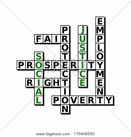 Puzzle devoted to social justice. Words prosperity, employment, poverty, right, protection fair placed in crossword.