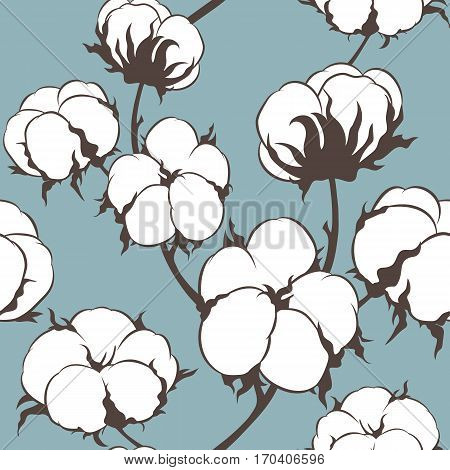 Vector cotton flowers seamless pattern. Can be used for a rustic wedding, greeting cards, textile or prints.