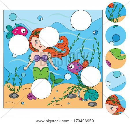 Matching children educational game. Match pieces and complete the picture with mermaid. Puzzle kids activity