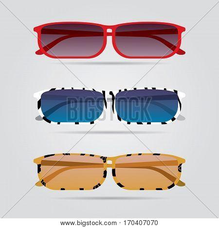 Colorful eyeglasses set. Vector illustration. Fashion isolated