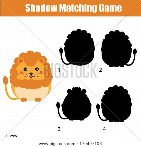 Shadow matching game for children. For kids preschool and school age. Animals theme worksheet. Find the correct silhouette for cute lion