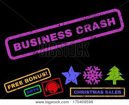 Business Crash text rubber seal stamp watermark with additional bonus christmas symbols. Caption inside rectangular banner with grunge design and dirty texture.