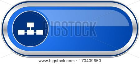 Database long blue web and mobile apps banner isolated on white background.