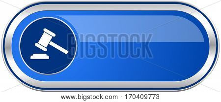 Auction long blue web and mobile apps banner isolated on white background.