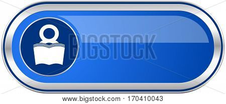 Book long blue web and mobile apps banner isolated on white background.