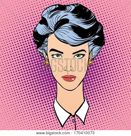 Strict woman with short hair. Cute woman thinking about something. Woman portrait. Feelings. Concept idea of advertisement and promo. Pop art retro style illustration. Halftone background