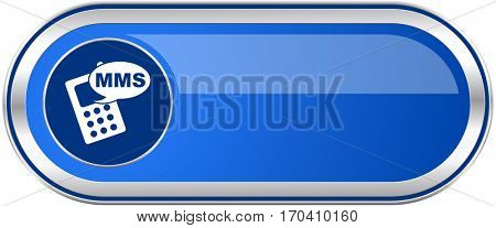 Mms long blue web and mobile apps banner isolated on white background.