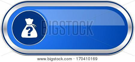 Riddle long blue web and mobile apps banner isolated on white background.