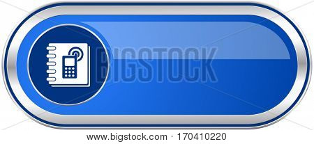 Phonebook long blue web and mobile apps banner isolated on white background.