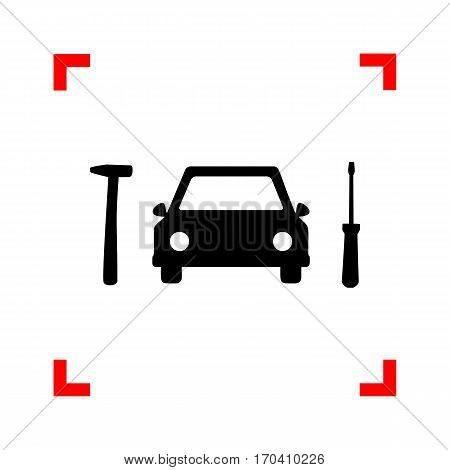 Car tire repair service sign. Black icon in focus corners on white background. Isolated.