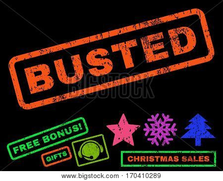 Busted text rubber seal stamp watermark with bonus new year symbols. Tag inside rectangular banner with grunge design and unclean texture.