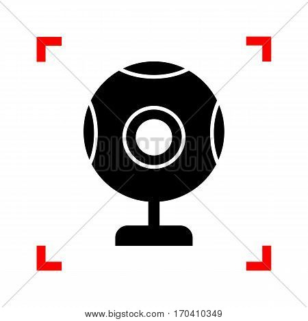 Chat web camera sign. Black icon in focus corners on white background. Isolated.
