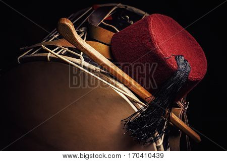 Fez Cap And Tapan Drum