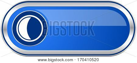 Moon long blue web and mobile apps banner isolated on white background.