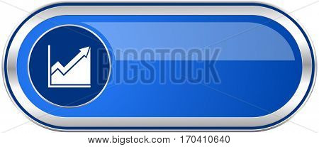 Histogram long blue web and mobile apps banner isolated on white background.