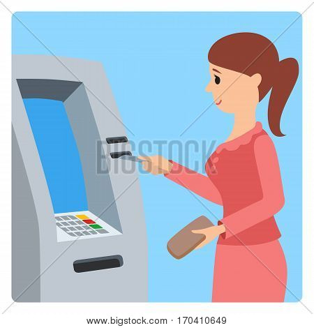 Vector illustration of woman using ATM machine in flat style isolated on white background.