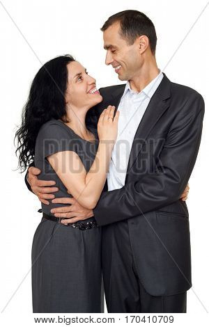 happy couple in love, romantic beautiful woman and handsome man isolated on white background
