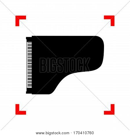 Concert grand piano sign. Black icon in focus corners on white background. Isolated.