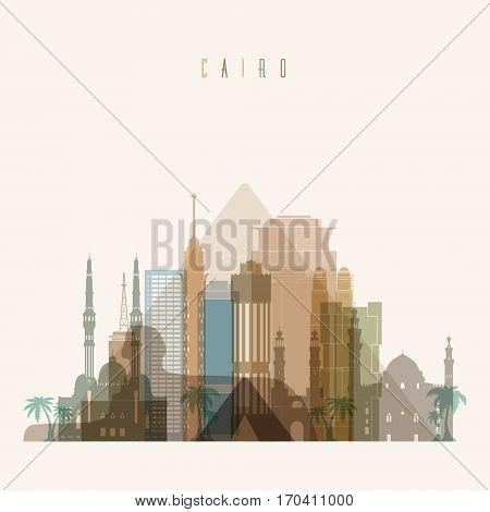Cairo skyline detailed silhouette. Transparent style. Trendy vector illustration.