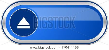 Eject long blue web and mobile apps banner isolated on white background.