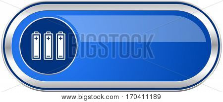 Battery long blue web and mobile apps banner isolated on white background.