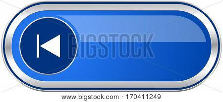 Prev long blue web and mobile apps banner isolated on white background.