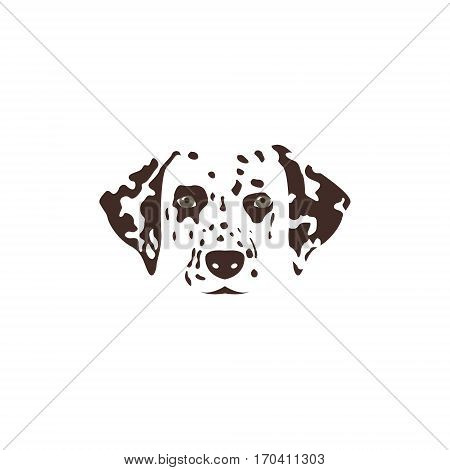 Dalmatian head. Brown spotty dog. Vector illustration.