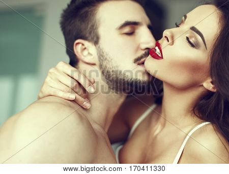 Sexy passionate couple foreplay at home red lips closed eyes book cover template