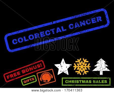 Colorectal Cancer text rubber seal stamp watermark with additional bonus new year symbols. Tag inside rectangular shape with grunge design and dirty texture.