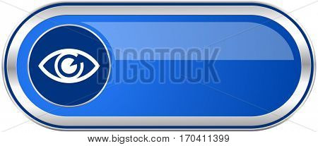 Eye long blue web and mobile apps banner isolated on white background.